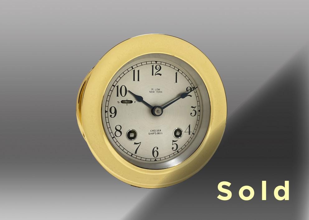 """3.75"""" Ship's Bell Mechanical Clock, 1956"""