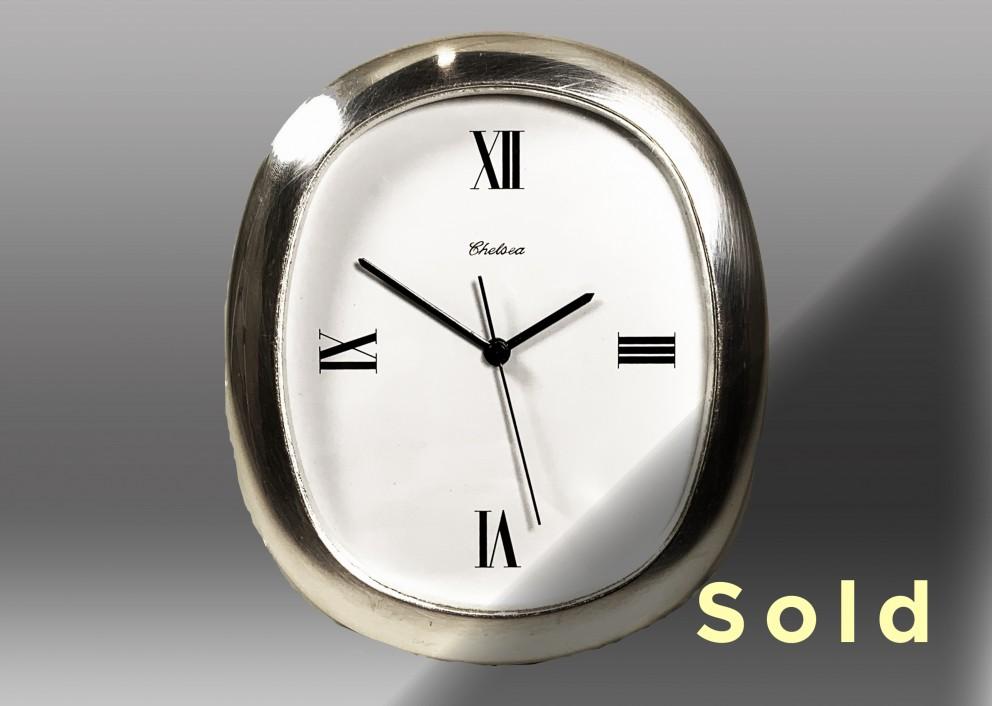 """6"""" Ellipse Chronoquartz Clock, Nickel"""