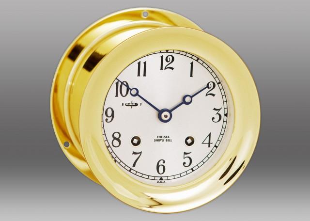 "4 1/2"" Ship's Bell Clock in Brass"