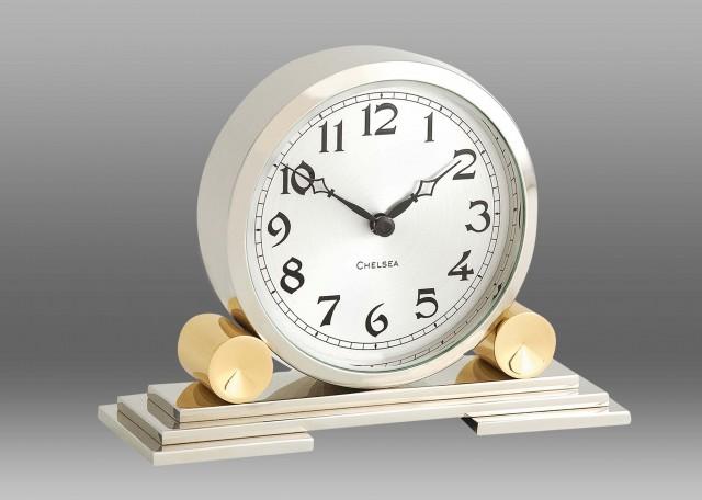 Mayfair Clock in Brass & Nickel