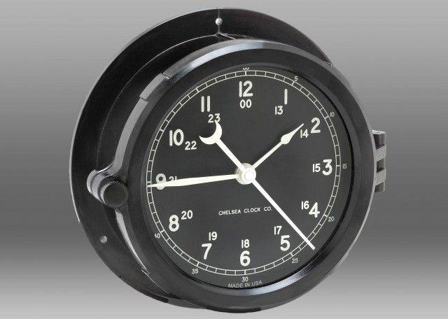 "Patriot Deck Clock - 8.5"" Black Dial"