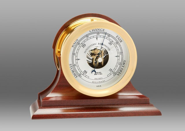 """4 1/2"""" Ship's Bell Barometer in Brass on Traditional Base"""