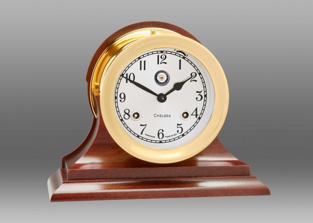 "US Navy 4 1/2"" Shipstrike Clock in Brass on Traditional Base"