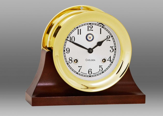 "US Navy 4 1/2"" Shipstrike Clock in Brass on Contemporary Base"