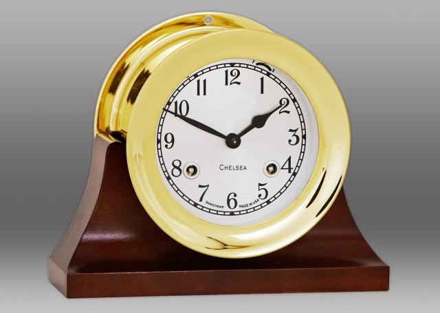 """4 1/2"""" Shipstrike Clock in Brass on Contemporary Base"""
