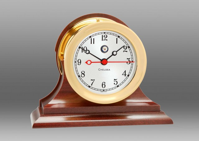 "US Navy 4 1/2"" Shipstrike Quartz Clock on Base"