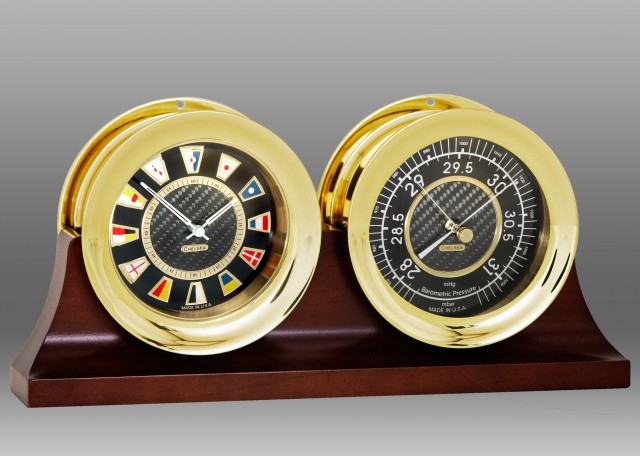 "4 1/2"" Carbon Fiber Flag Clock and Barometer on Double Base"