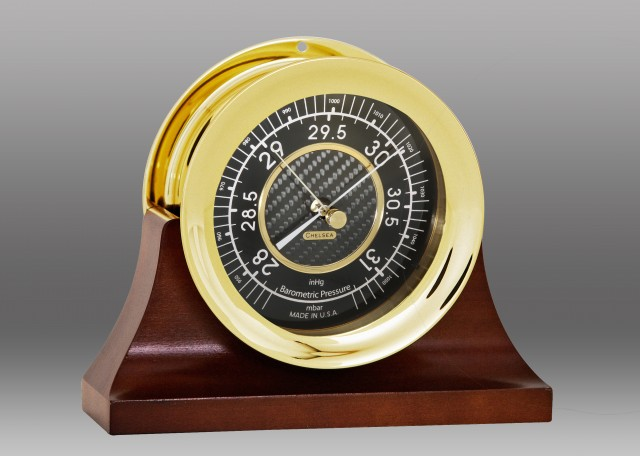 """4 1/2"""" Carbon Fiber Barometer in Brass on Contemporary Base"""