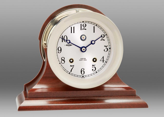 """US Navy 4 1/2"""" Ship's Bell Clock Nickel on Traditional Base"""