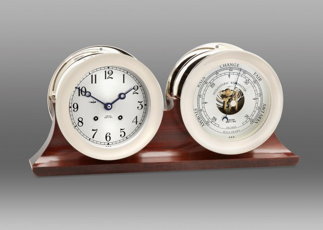 "4 1/2"" Ship's Bell Clock & Barometer in Nickel on Double Base"
