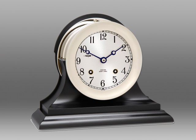 "4.5"" Ship's Bell Clock in Nickel on Black Traditional Base"