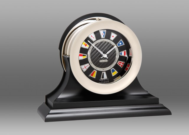 Carbon Fiber Flag Clock, Nickel,Traditional Black Base