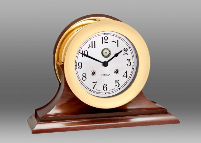 """US Navy 6"""" Shipstrike Clock in Brass on Traditional Base"""