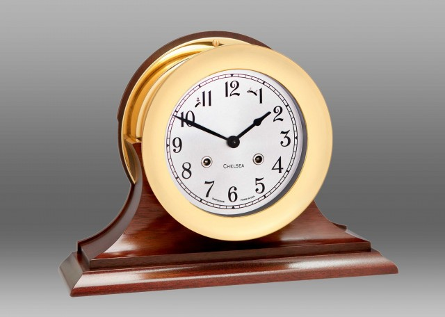 """6"""" Shipstrike Clock in Brass on Traditional Base"""