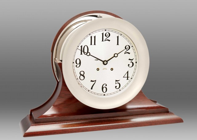 """8 1/2"""" Ship's Bell Clock in Nickel on Traditional Base"""