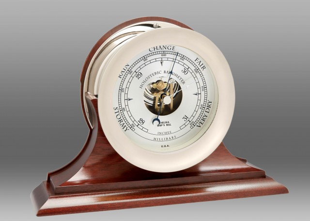 """6"""" Ship's Bell Barometer in Nickel on Traditional Base"""