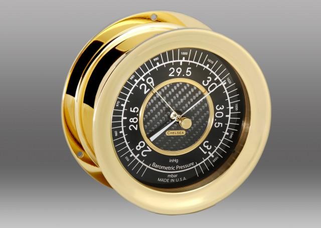 Carbon Fiber Barometer, Brass