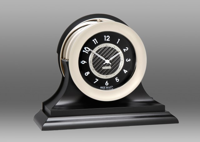 Carbon Fiber 12 Hour Clock, Nickel,Traditional Black Base