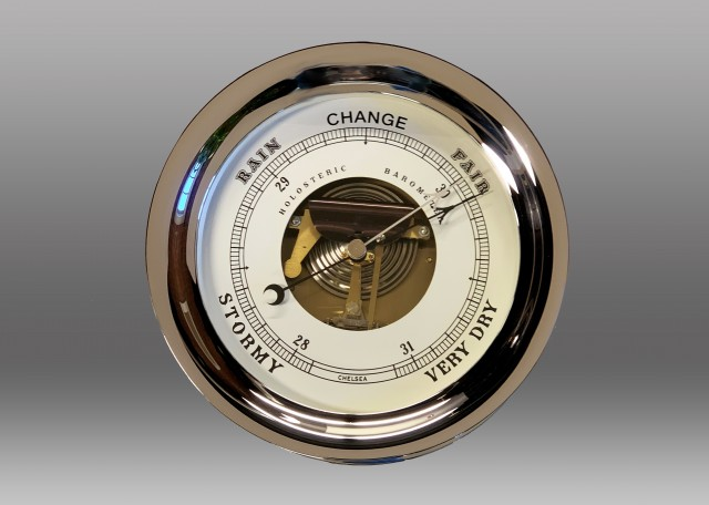 """Made to Order – One of a Kind 8 1/2"""" Ship's Bell Barometer in Chrome"""