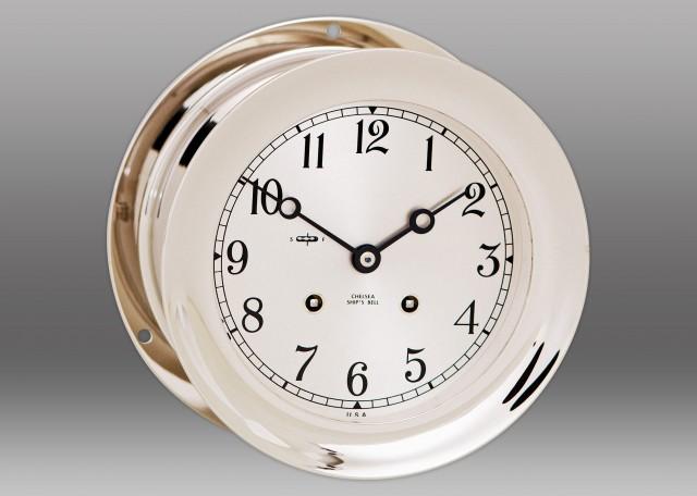 "6"" Ship's Bell Clock in Nickel"