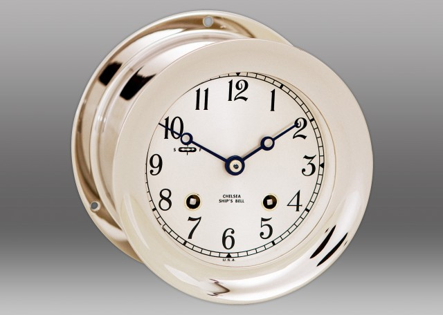 "4 1/2"" Ship's Bell Clock in Nickel"