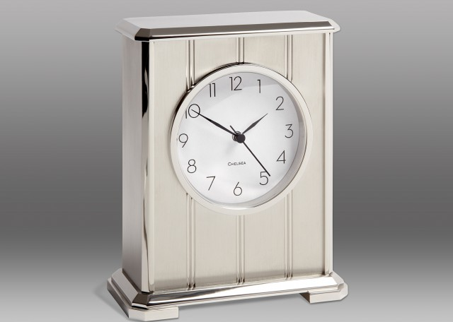 NEW! Embassy Clock in Nickel with Arabic Dial