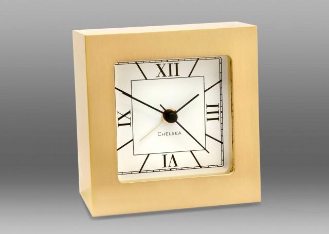 Square Desk Alarm Clock in Brass