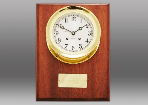 """4 1/2"""" Ship's Bell Clock, Brass, Mahogany Wall Plaque"""