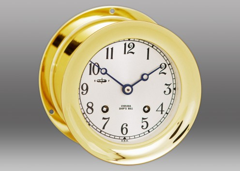 "4 1/2"" Ship's Bell Clock in Brass"
