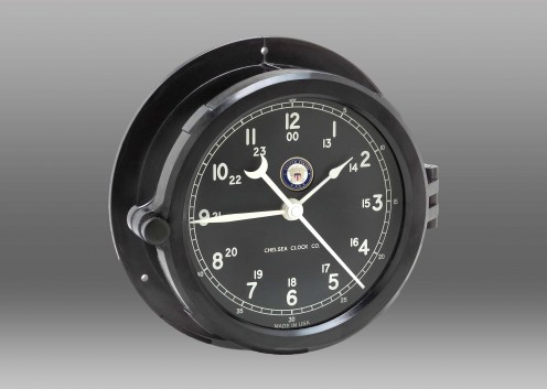 US Navy Patriot Deck Clock - Black Dial