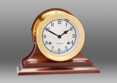 """4 1/2"""" Shipstrike Clock in Brass on Traditional Base"""