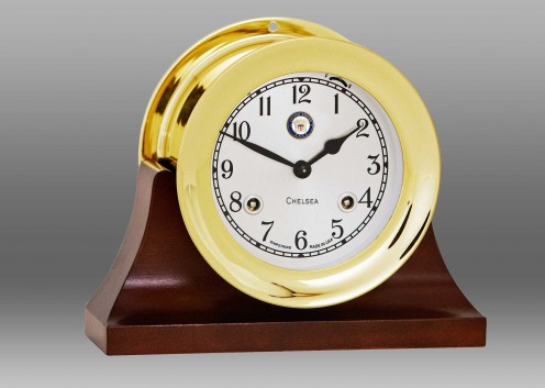 """US Navy 4 1/2"""" Shipstrike Clock in Brass on Contemporary Base"""