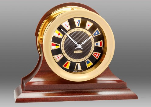 Carbon Fiber Flag Clock, Brass,Traditional Mahogany Base