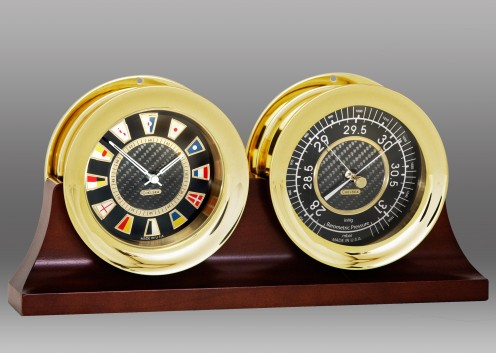 "4 1/2"" Carbon Fiber Flag Clock and Barometer on Double Base"
