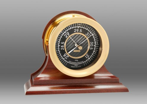 "4 1/2"" Carbon Fiber Barometer in Brass on Traditional Base"