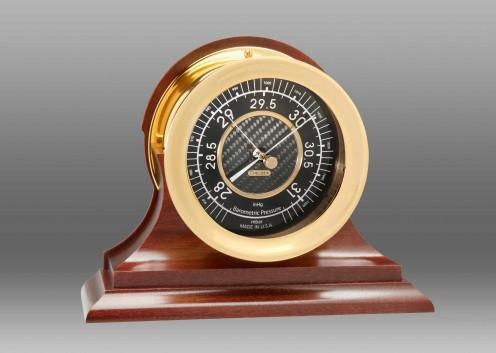 "4 1/2"" Carbon Fiber Barometer in Brass on Traditional Base"