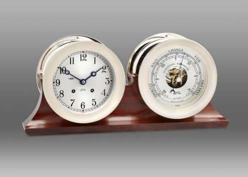 """4 1/2"""" Ship's Bell Clock & Barometer in Nickel on Double Base"""