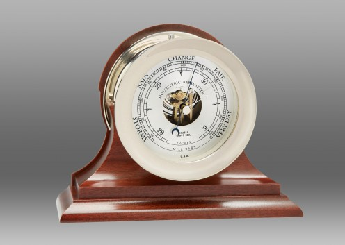 """4 1/2"""" Ships's Bell Barometer in Nickel on Mahogany Traditional Base"""