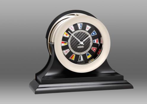 Carbon Fiber Flag Clock, Chrome,Traditional Black Base