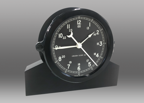 "Patriot Deck Clock and Base - 8.5"" Black Dial"