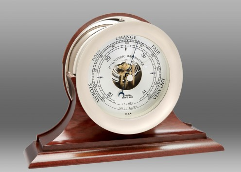 "6"" Ship's Bell Barometer in Nickel on Traditional Base"