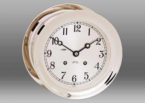 "6"" Ship's Bell Clock in Nickel"