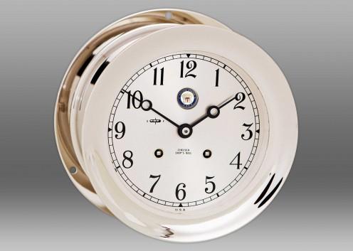 """US Navy 6"""" Ship's Bell Clock in Nickel"""
