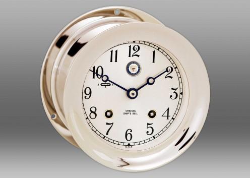 """US Navy 4 1/2"""" Ship's Bell Clock in Nickel"""