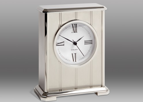NEW! Embassy Clock in Nickel with Roman Dial