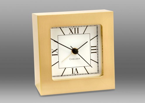 Square Desk Alarm Clock in Brass