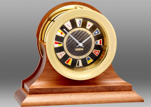 Carbon Fiber Flag Clock, Brass,Traditional Cherry Base