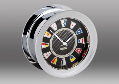 Carbon Fiber Flag Clock, Chrome