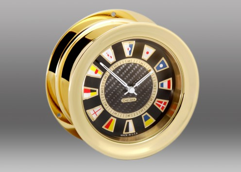 Carbon Fiber Flag Clock, Brass