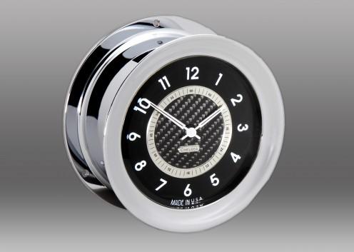 Carbon Fiber 12 Hour Clock, Chrome